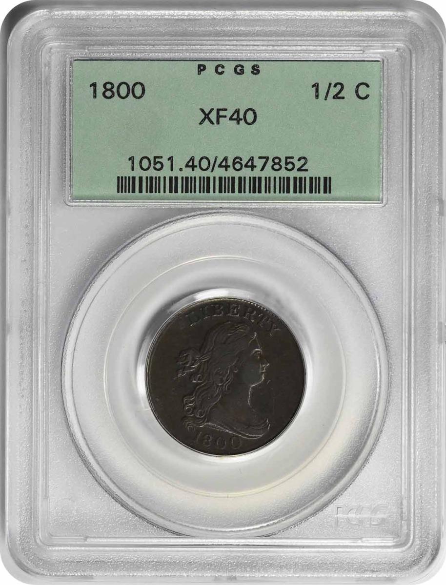 1800 Half Cent EF40 PCGS