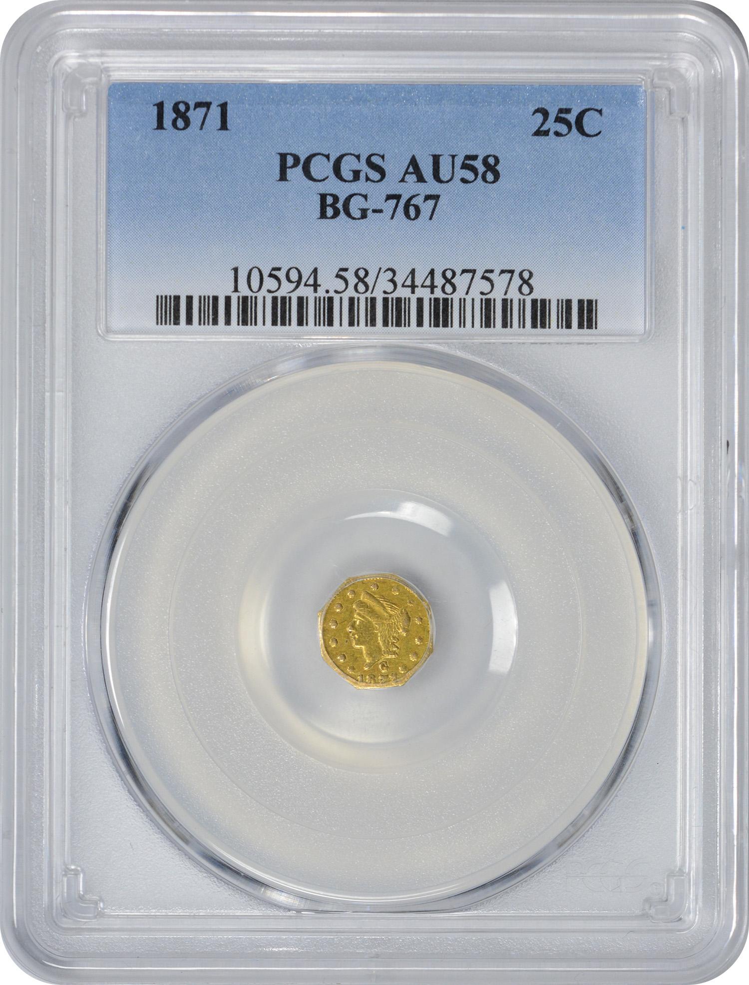 1871 Quarter Dollar California Gold, BG-767, AU58, PCGS