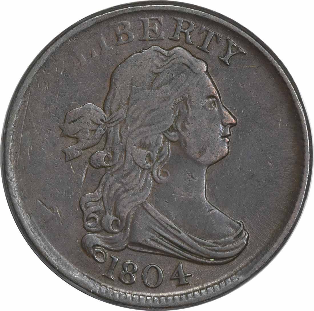 1804 Half Cent Plain 4 No Stems EF Uncertified