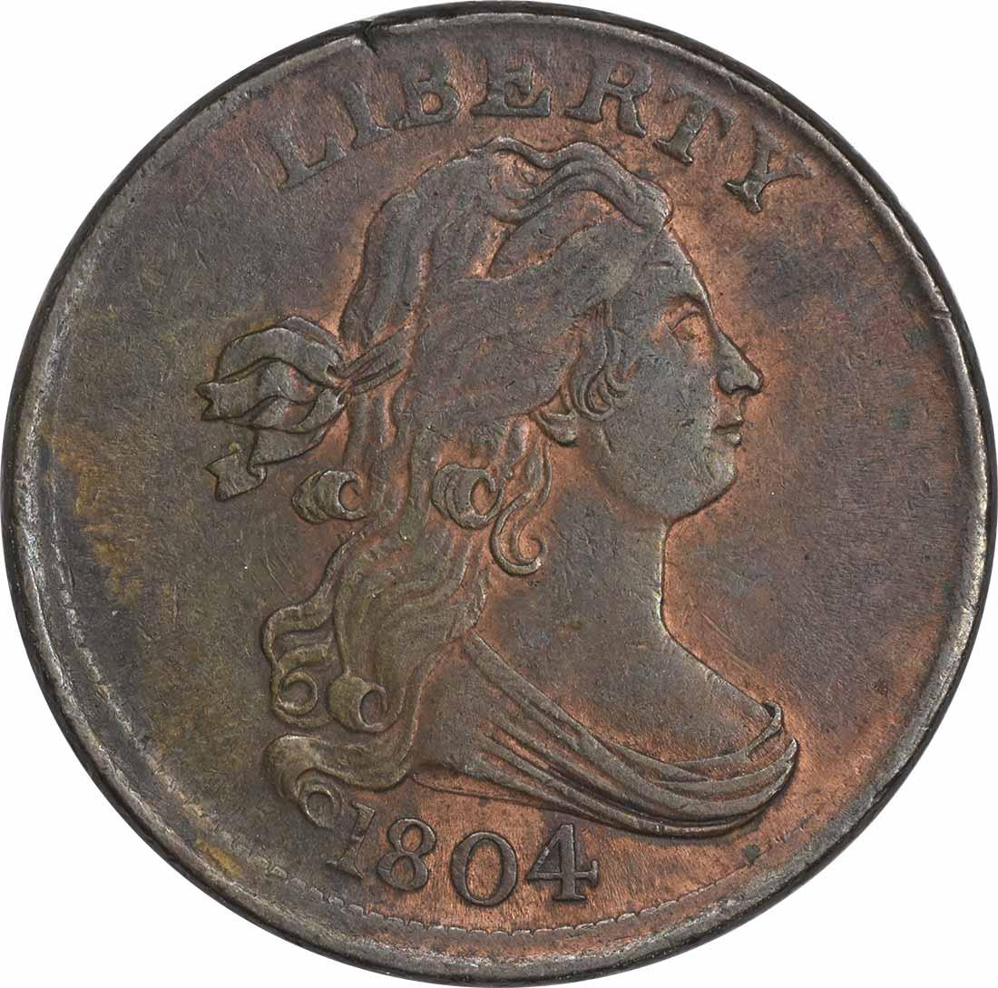 1804 Half Cent Crosslet 4 Stems AU Uncertified
