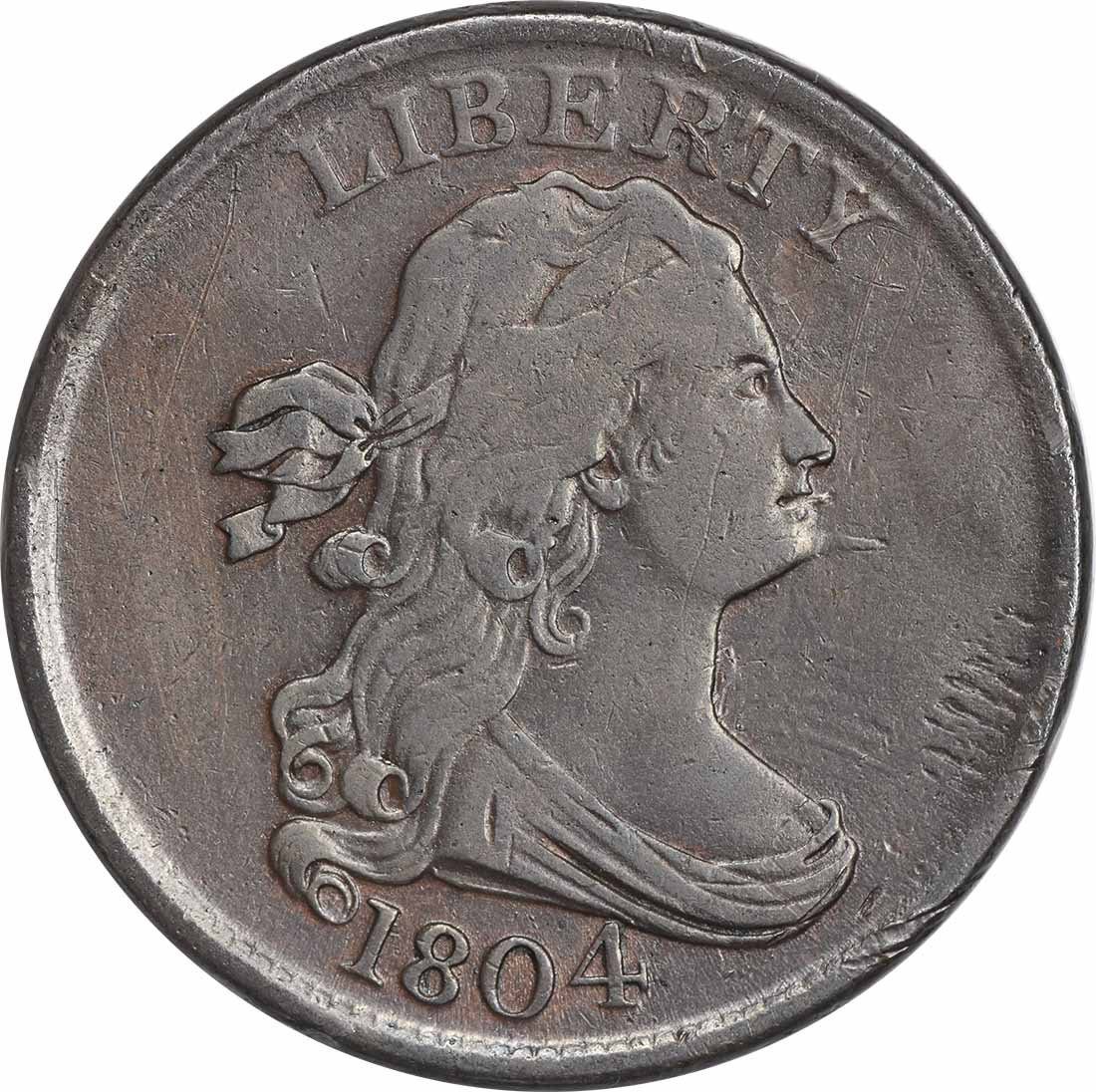 1804 Half Cent Spiked Chin VF Uncertified