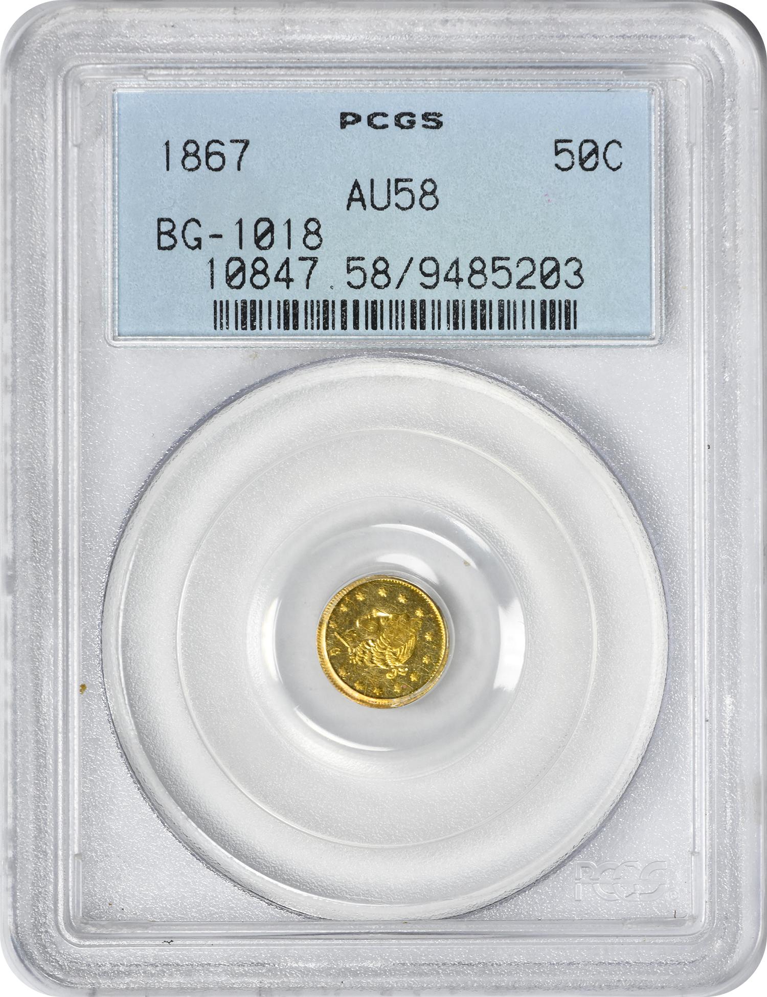 1867 Half Dollar California Gold, BG-1018, AU58, PCGS