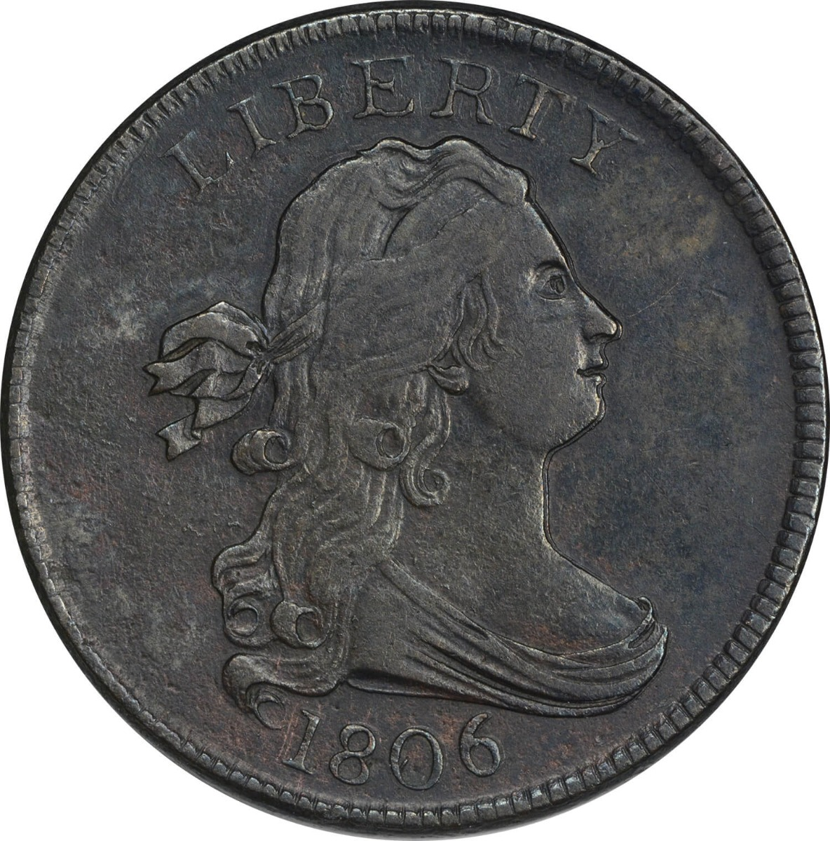 1806 Half Cent Small 6 No Stems Choice EF Uncertified