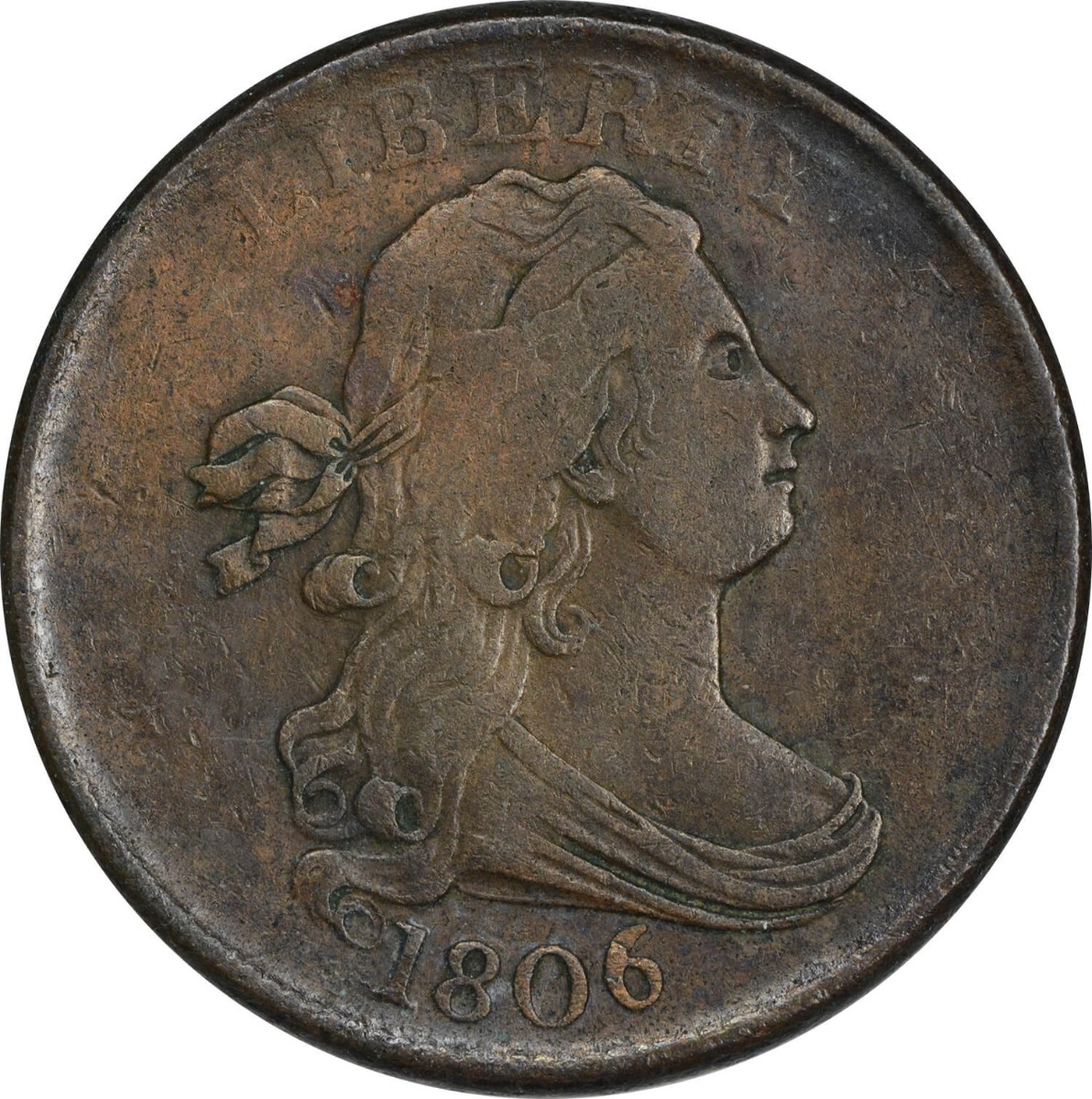 1806 Half Cent Small 6 No Stems EF Uncertified