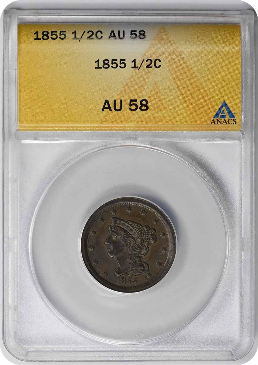 1855 Half Cent AU58 ANACS