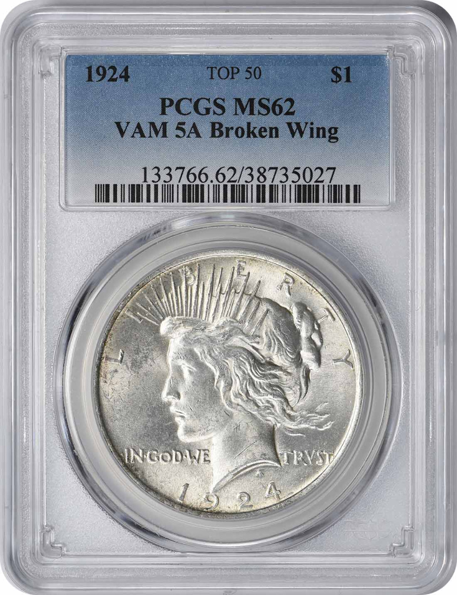 1924 Vam 5A Peace Dollar, Broken Wing, MS62, PCGS