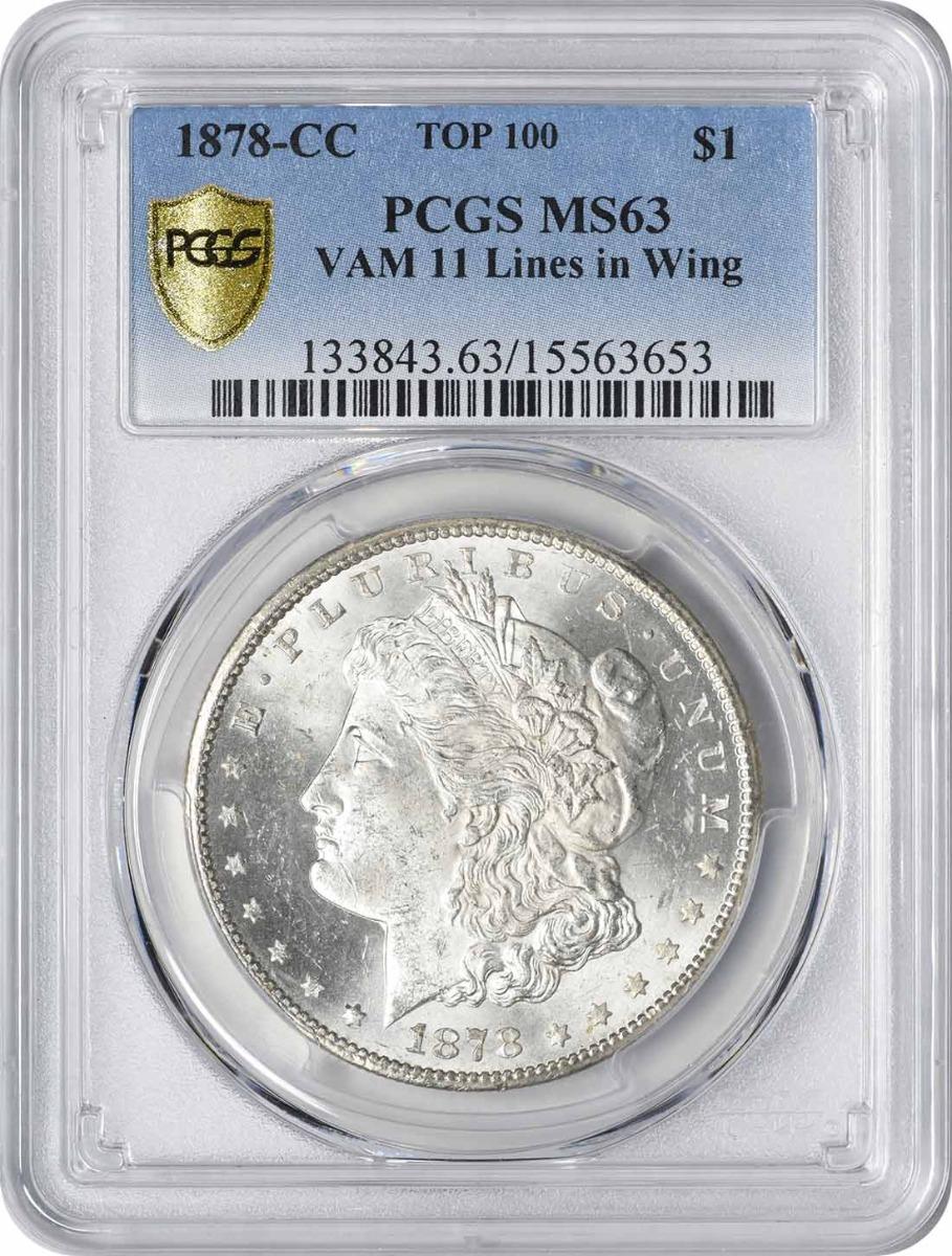 1878-CC VAM 11 Morgan Silver Dollar Lines in Wing MS63 PCGS