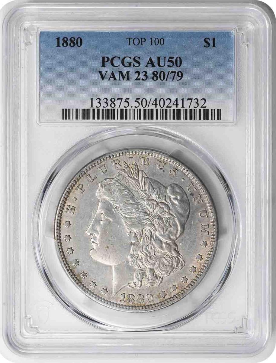 1880 Vam 23 Morgan Dollar 80/79 AU50 PCGS