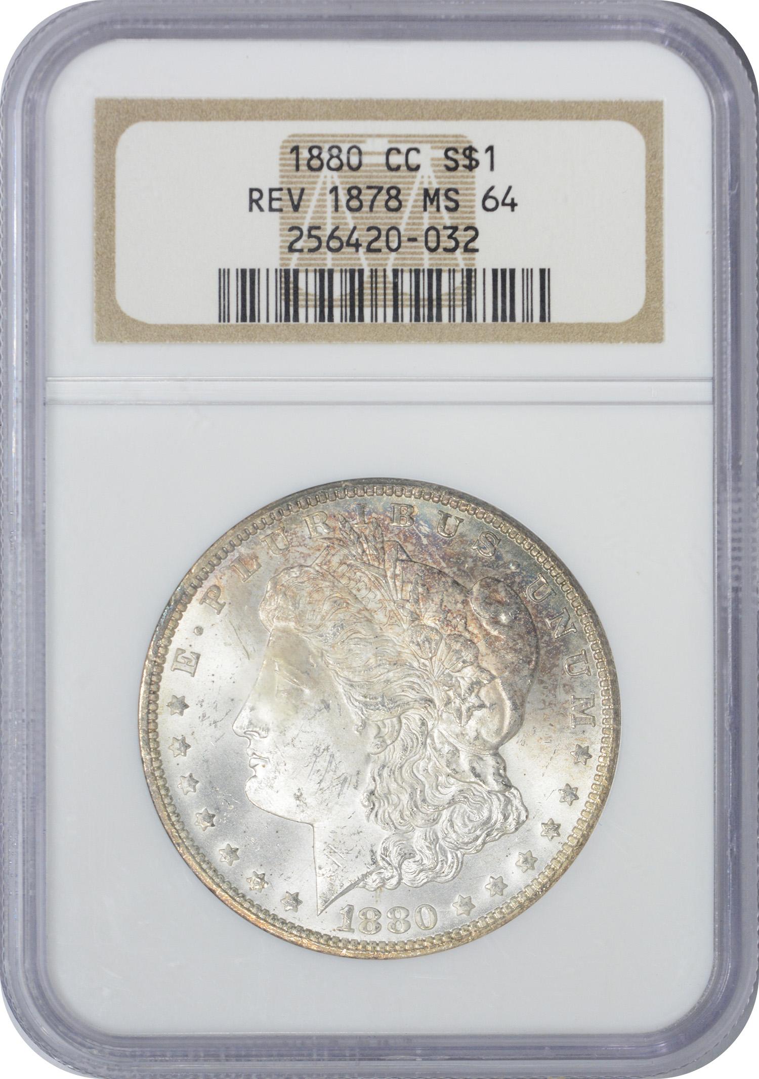 1880-CC VAM 4 80/79, Morgan Silver Dollar, Rev OF '78, MS64, NGC