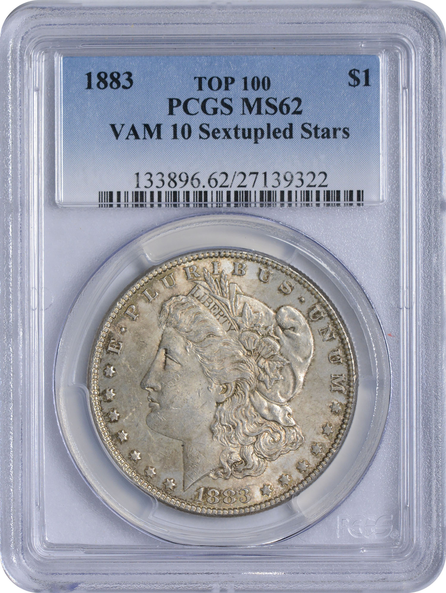 1883 VAM 10 Morgan Silver Dollar Sextupled Stars MS62 PCGS