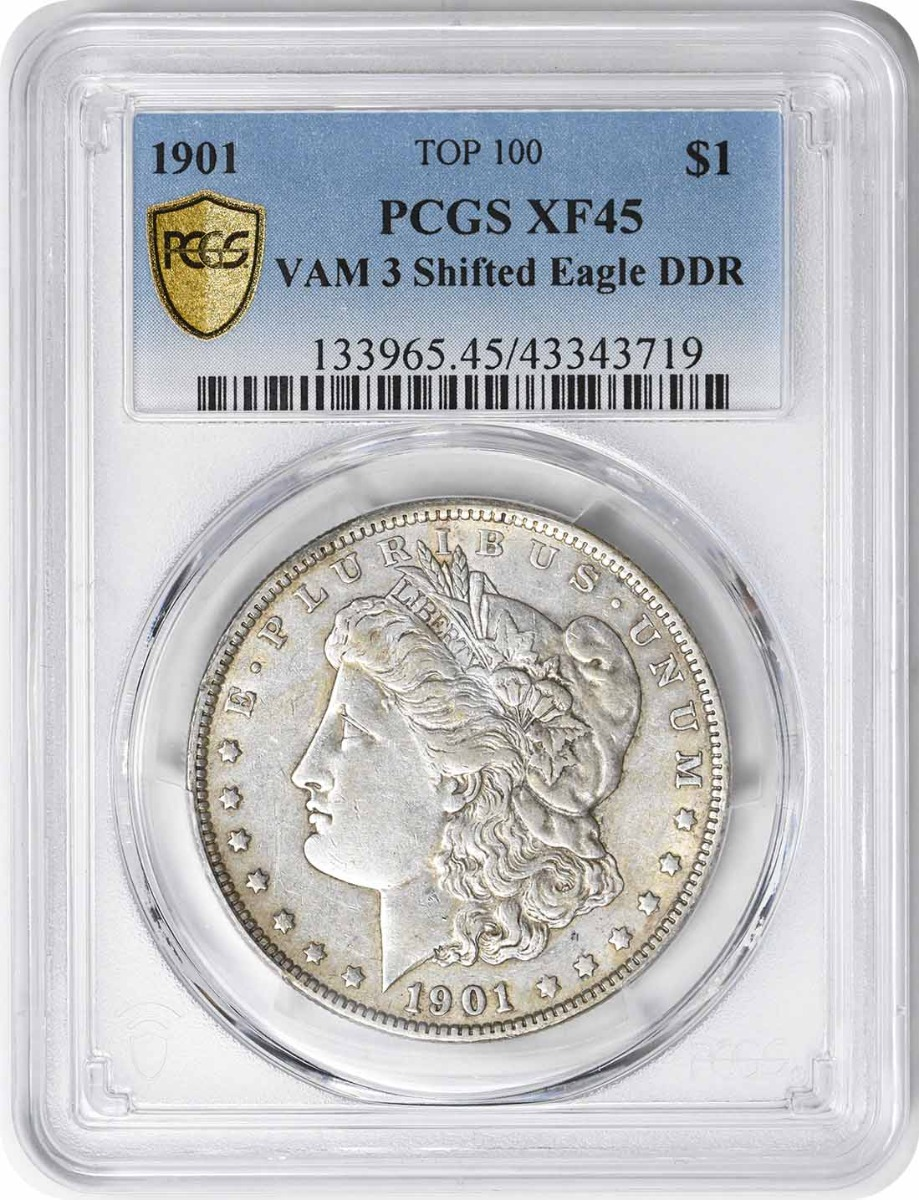 1901 Vam 3 Morgan Dollar Shifted Eagle XF45 PCGS
