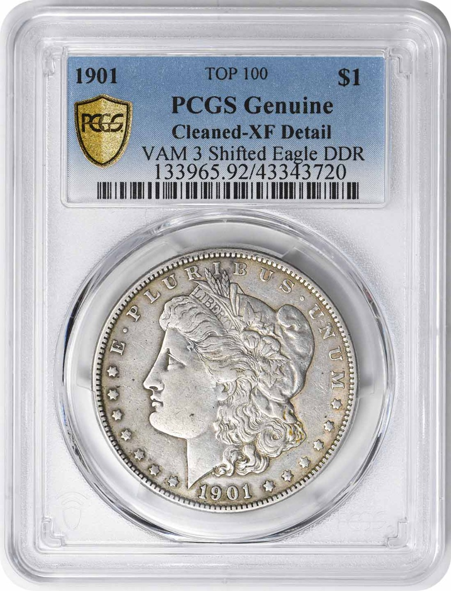 1901 Vam 3 Morgan Dollar Shifted Eagle XF Detail Cleaned PCGS
