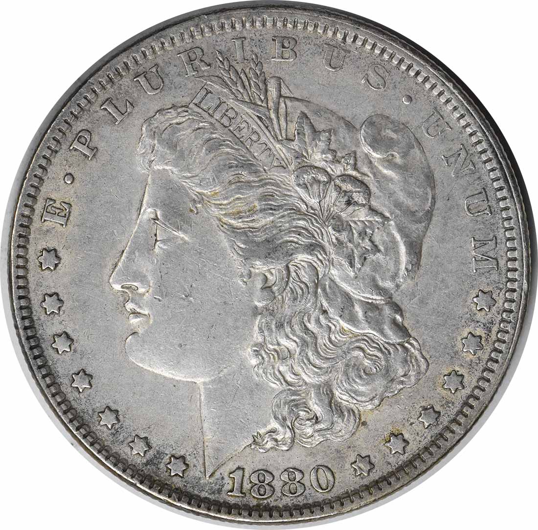 1880 VAM 39A Morgan Silver Dollar Partial E Rev EF Uncertified