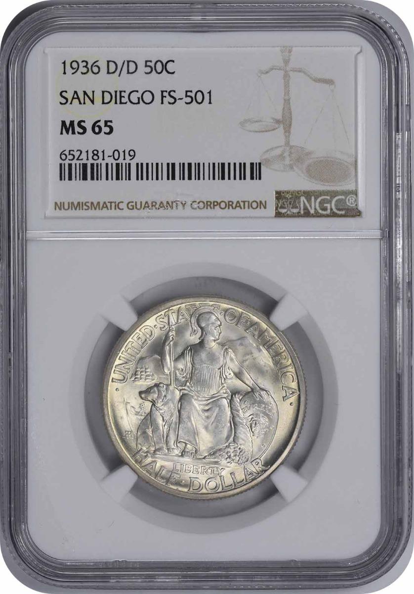 1936-D/D San Diego Half Dollar, FS-501, MS65, NGC