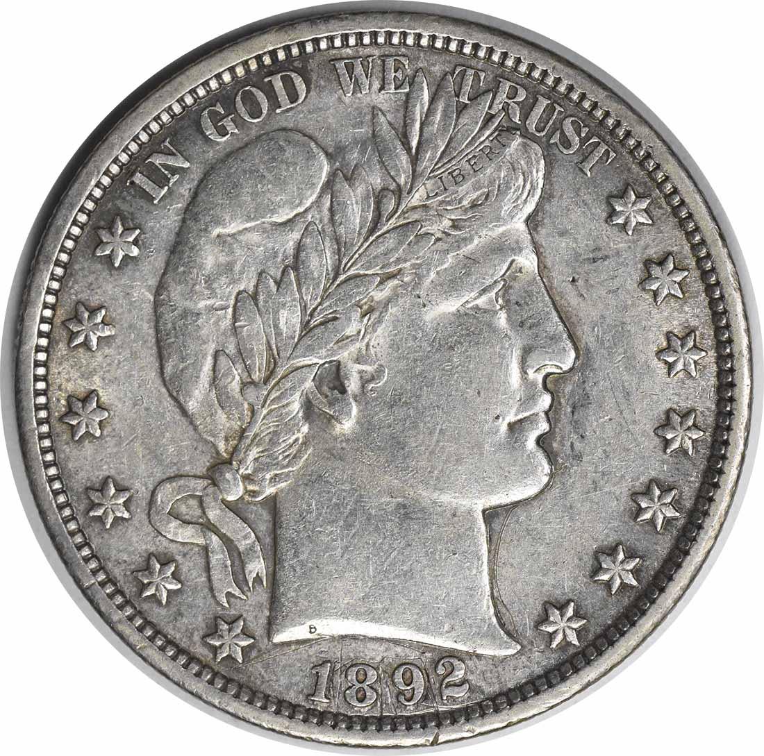 1892 Barber Silver Half Dollar TDR FS-801 AU Uncertified #140