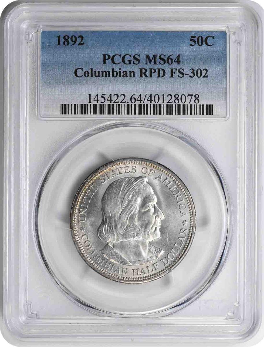 1892 Columbian Half Dollar RPD FS-302 MS64 PCGS