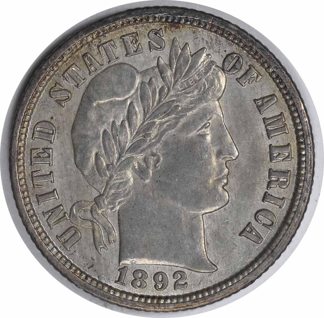 18/1892-O Barber Silver Dime FS-301 MS63 Uncertified