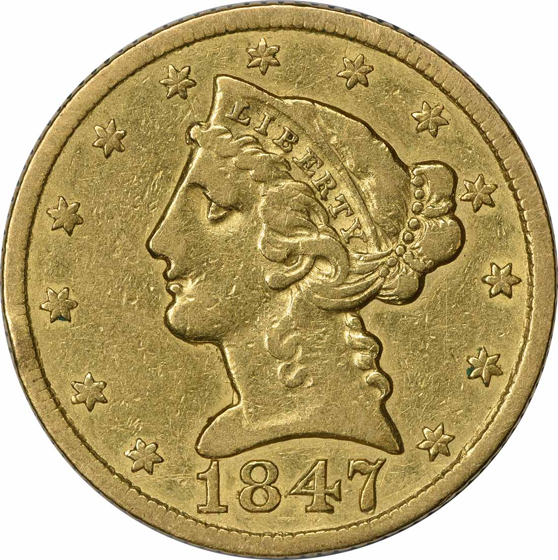 1847 $5 Gold Liberty Head MPD FS-302 VF Uncertified