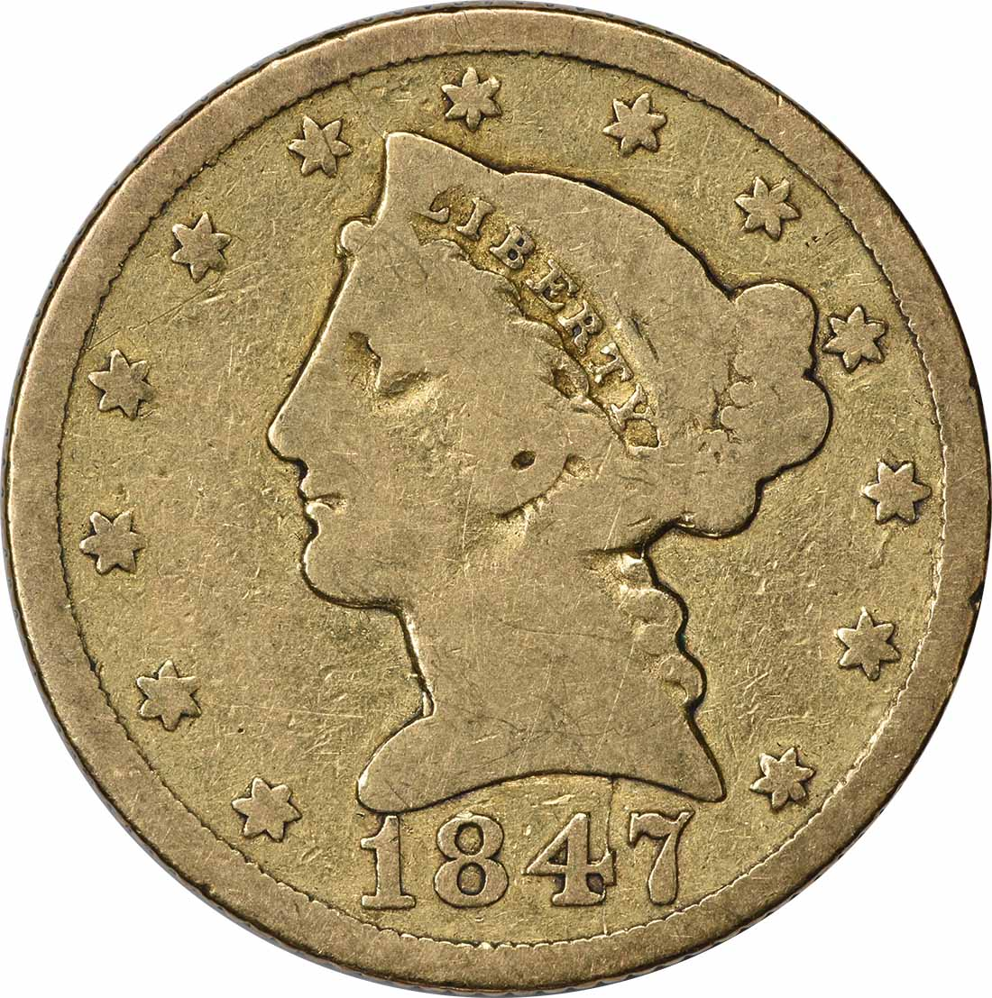 1847 $5 Gold Liberty Head MPD FS-302 VG Uncertified