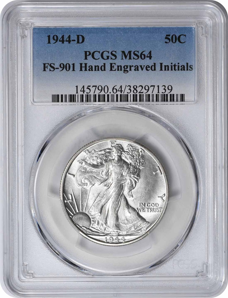 1944-D Walking Liberty Half Dollar, Hand Engraved Initials FS-901, MS64, PCGS