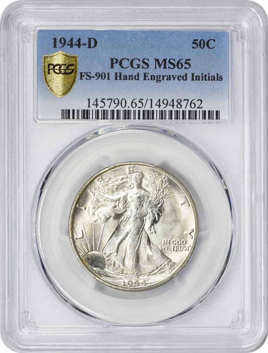 1944-D Walking Liberty Silver Half Dollar Hand Engraved Initials FS-901 MS65 PCGS