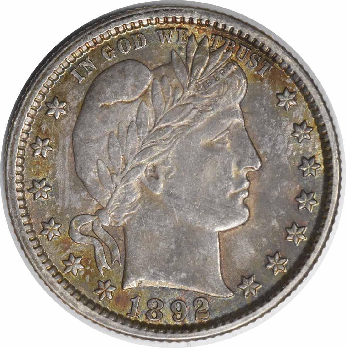 1892 Barber Silver Quarter TDO FS-101 MS63 Uncertified #1131