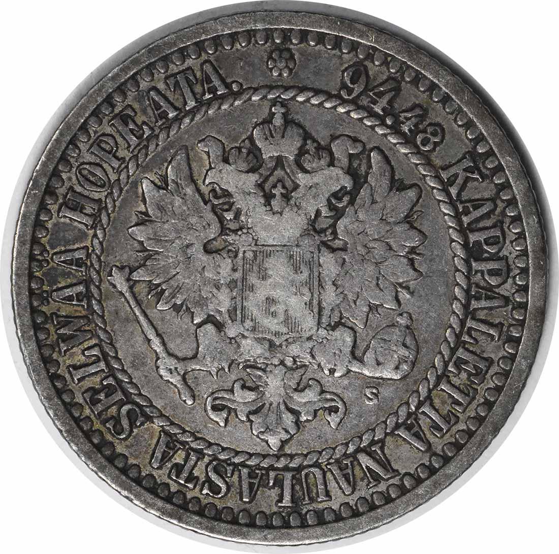 1866 S Finland 1 Markka KM3.1 VF Uncertified