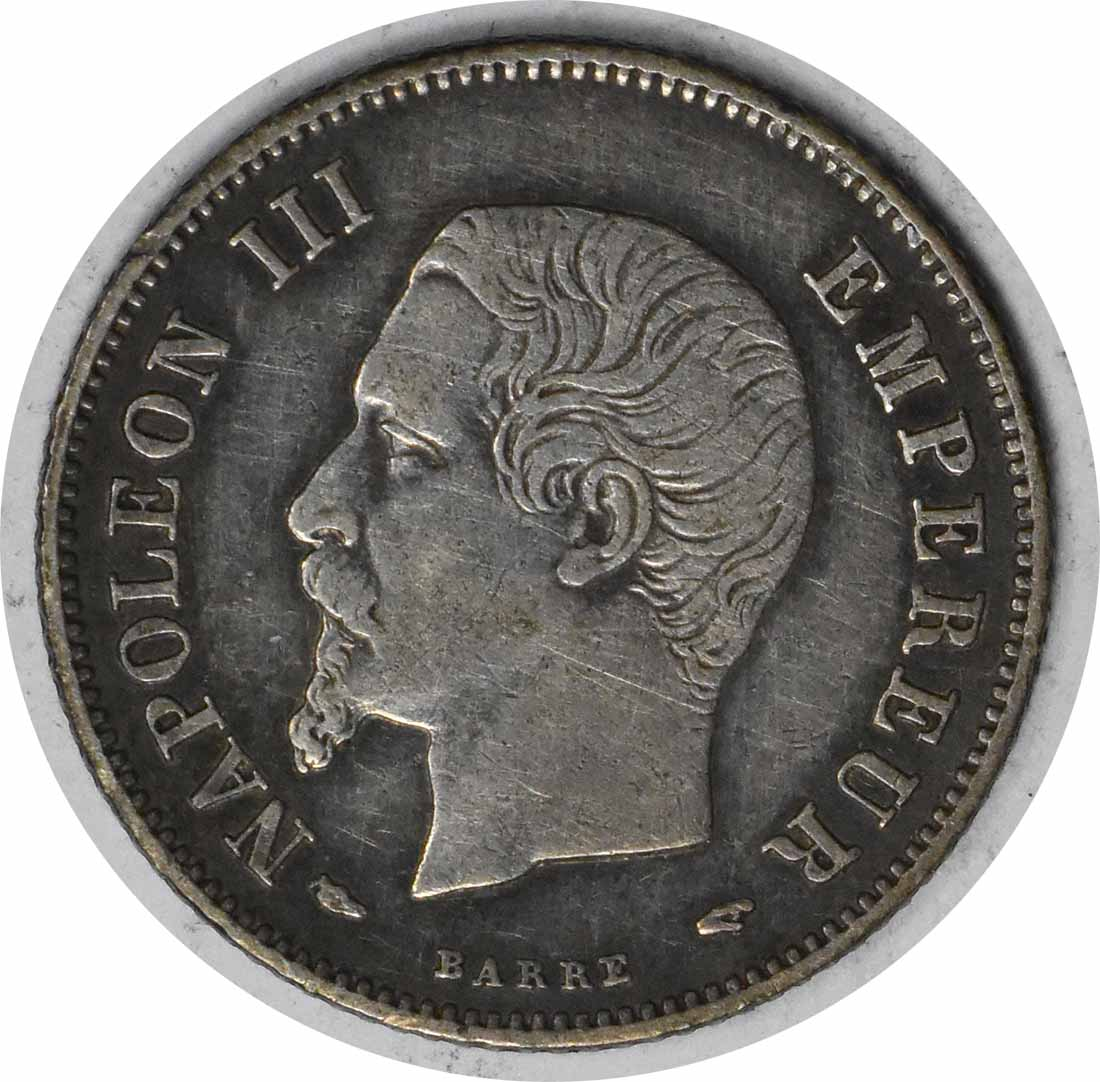 1854 A France 20 Centimes KM778.1 EF Uncertified