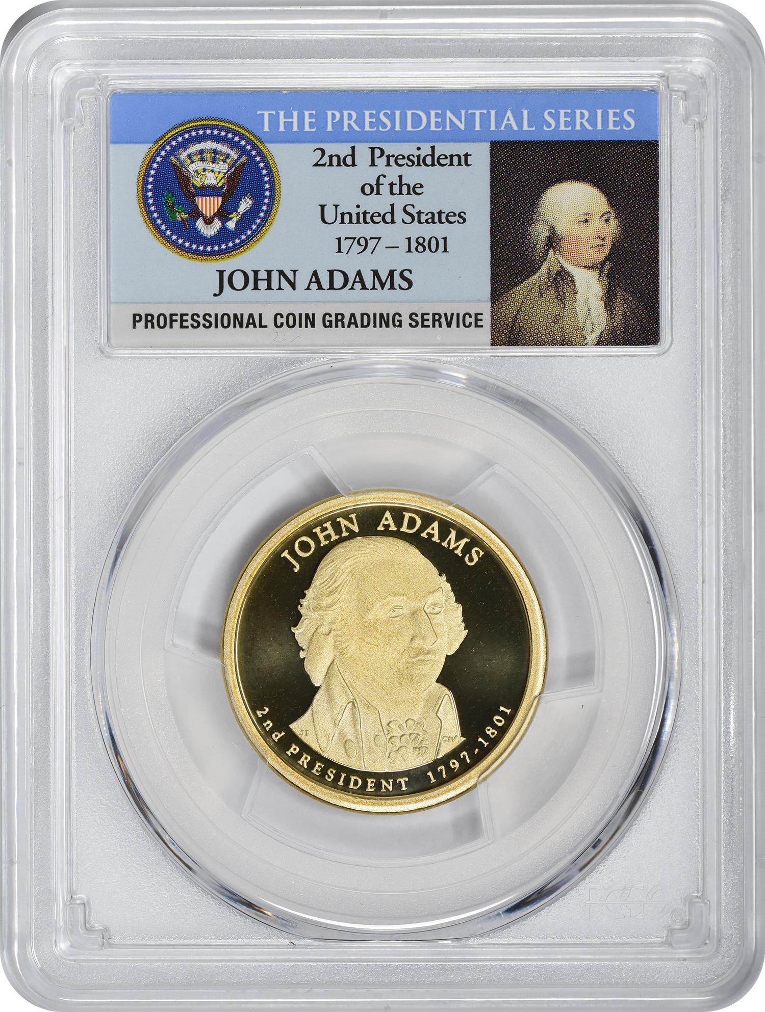 2007-S John Adams Presidential Dollar, PR70DCAM, PCGS