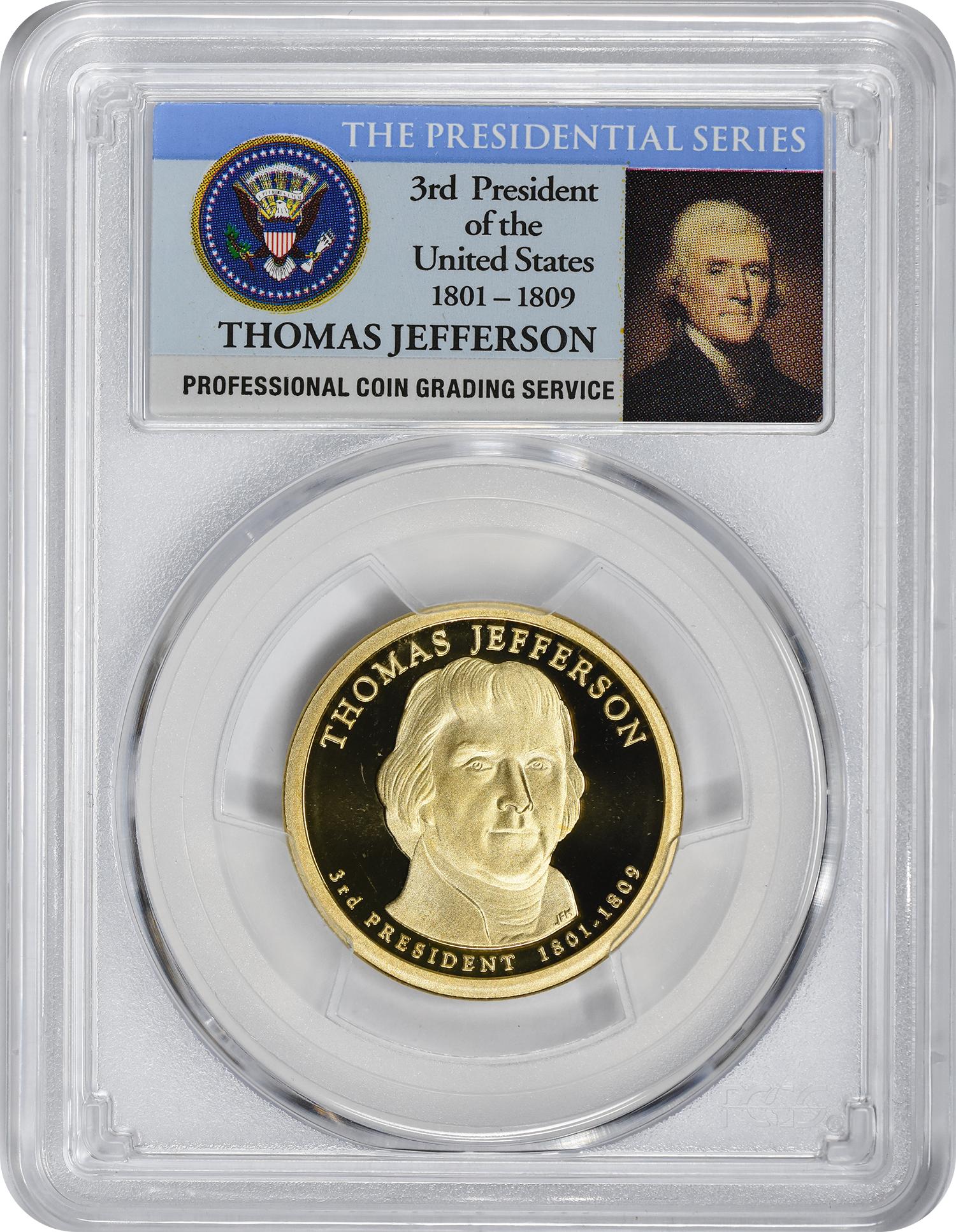 2007-S Thomas Jefferson Presidential Dollar, PR70DCAM, PCGS