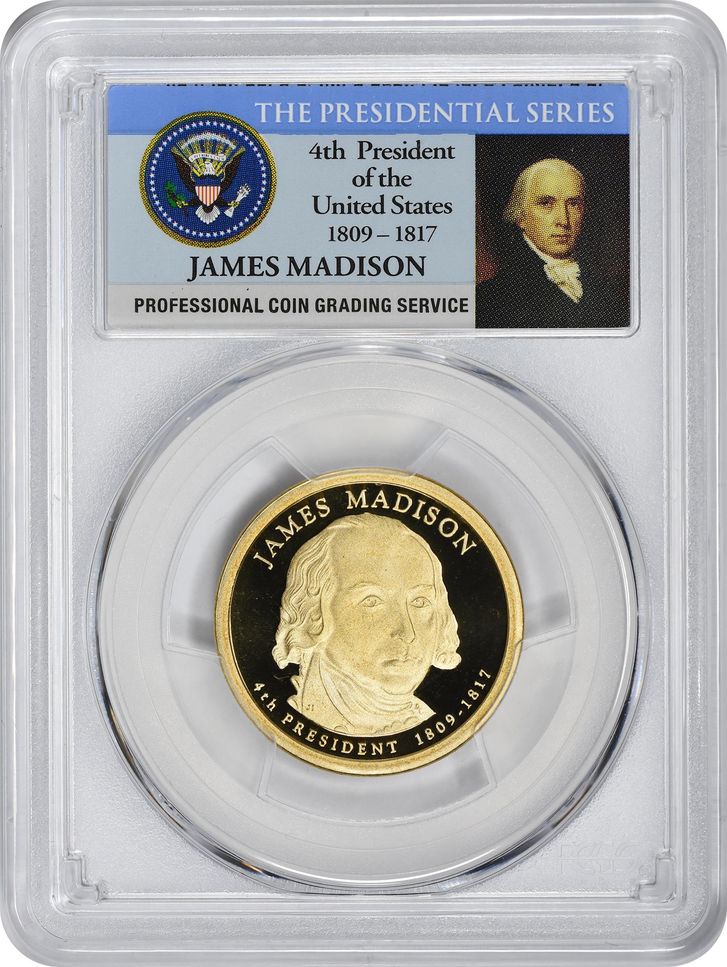 2007-S James Madison Presidential Dollar, PR70DCAM, PCGS
