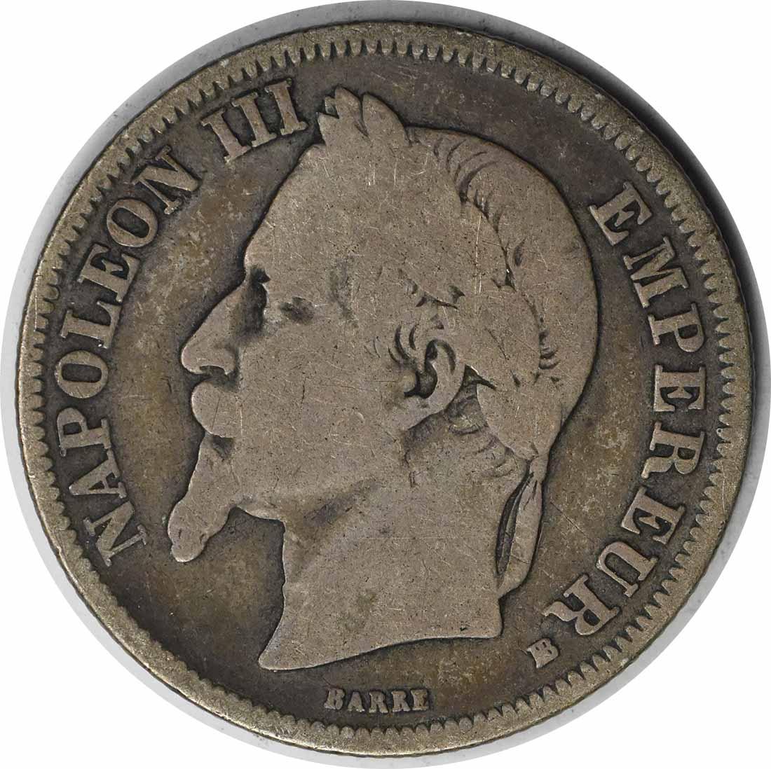 1868 BB France 2 Francs KM807.2 F Uncertified