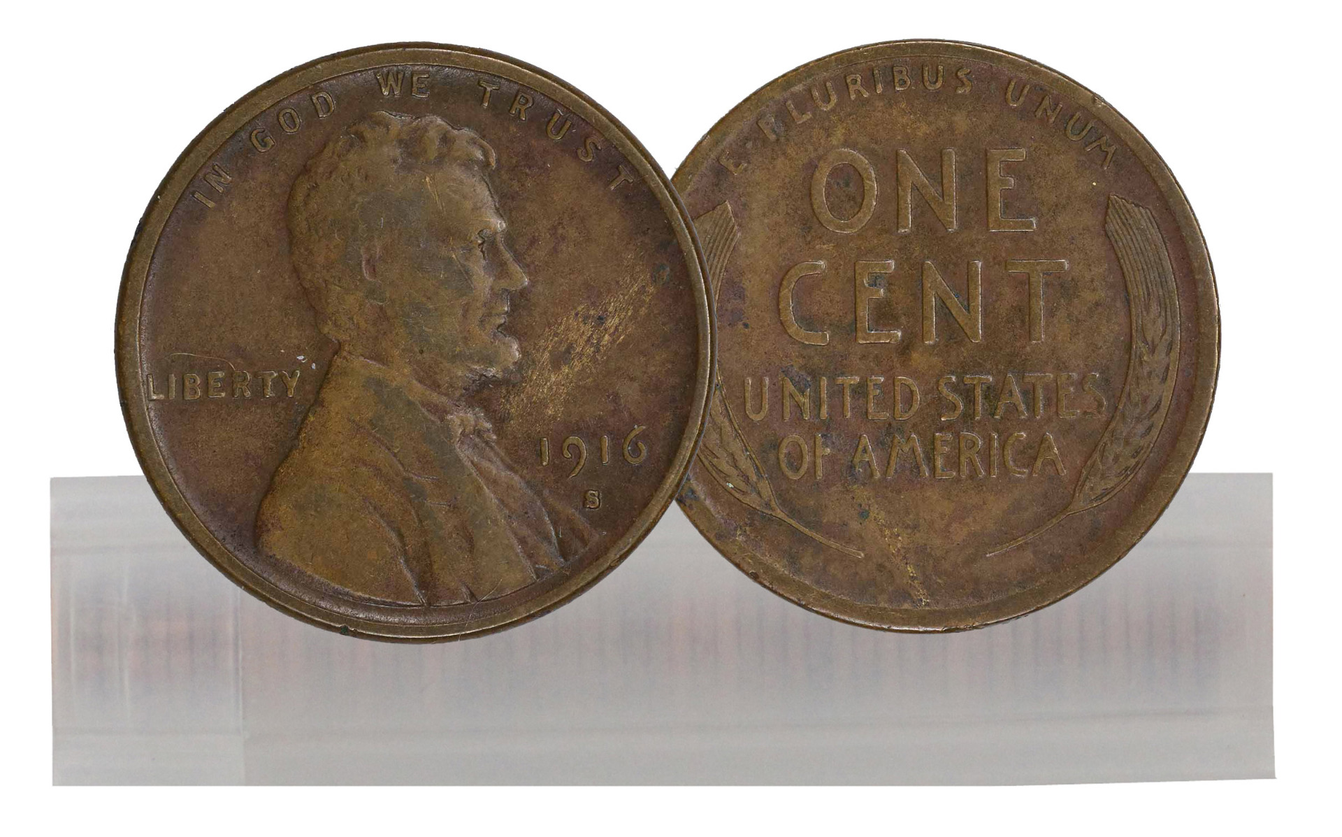1916-S Circulated Lincoln Cent 50-Coin Roll VF/EF
