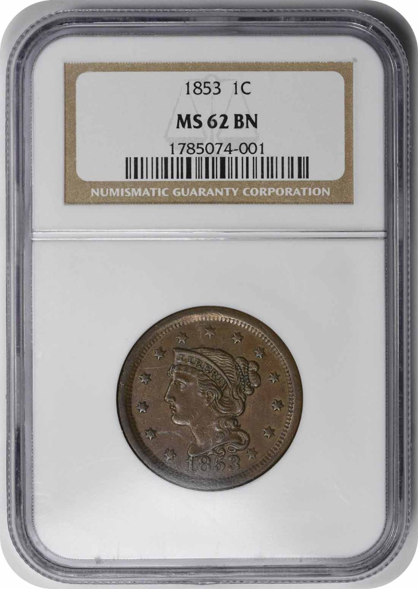 1853 Large Cent MS62BN NGC