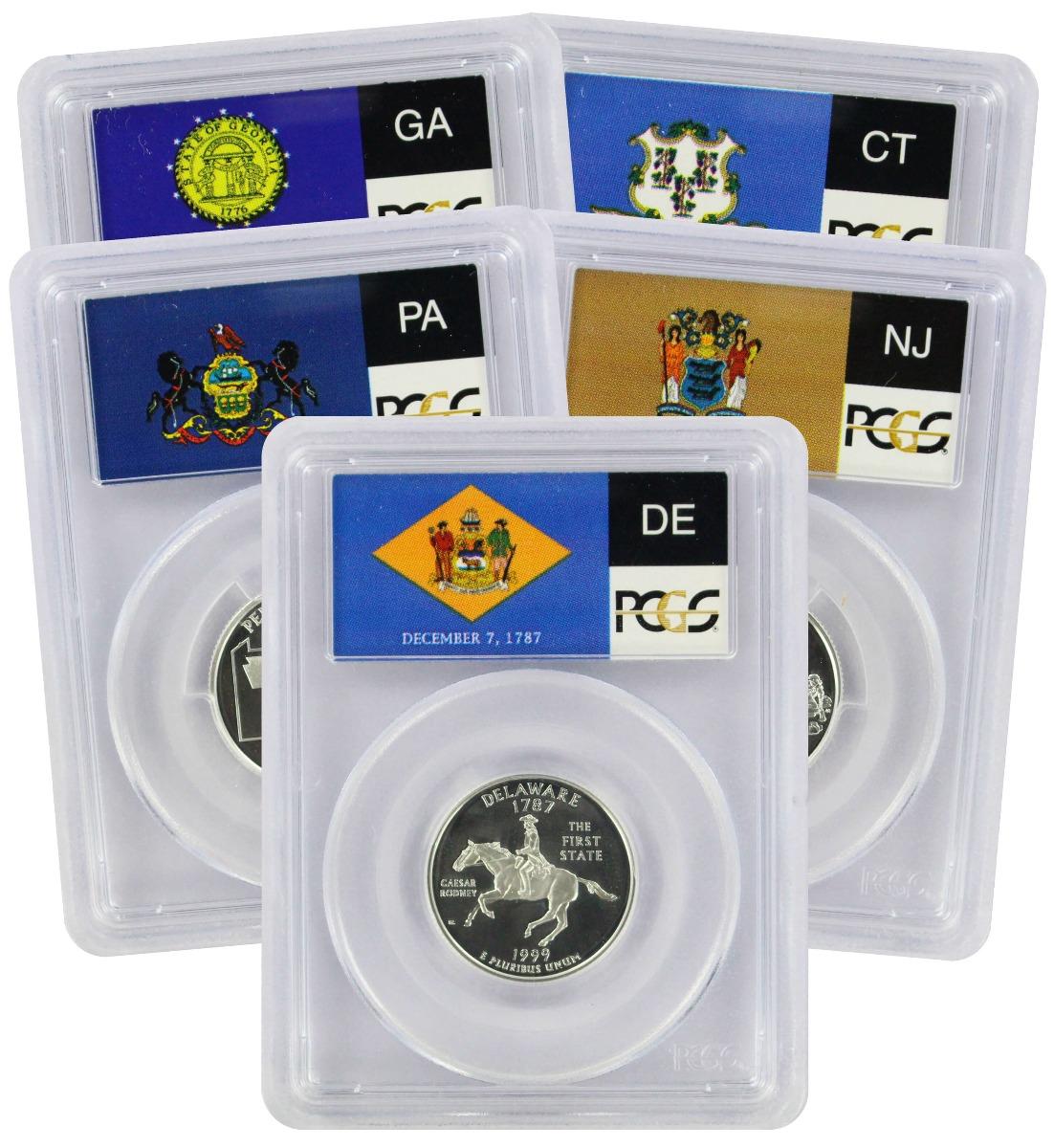 1999-S State Quarter Set, PR69DCAM, Silver, PCGS (Flag Label)