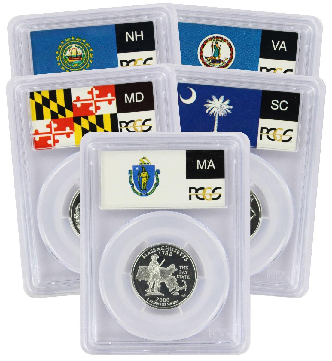 2000-S State Quarter Set, PR69DCAM, Silver, PCGS (Flag Label)