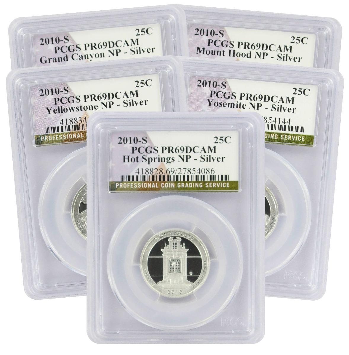 2010-S America the Beautiful Quarter Set, PR69DCAM, Silver, PCGS (Flag Label)