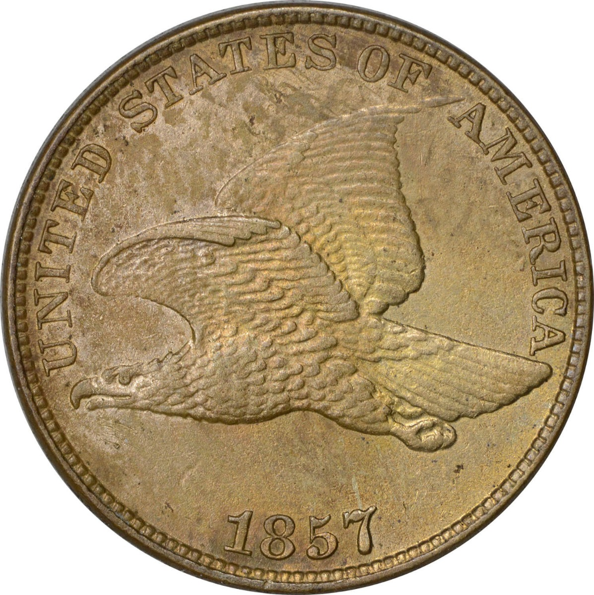 1857 Flying Eagle Cent MS62 Uncertified