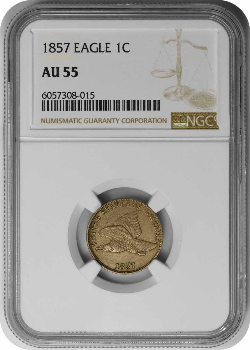 1857 Flying Eagle Cent AU55 NGC