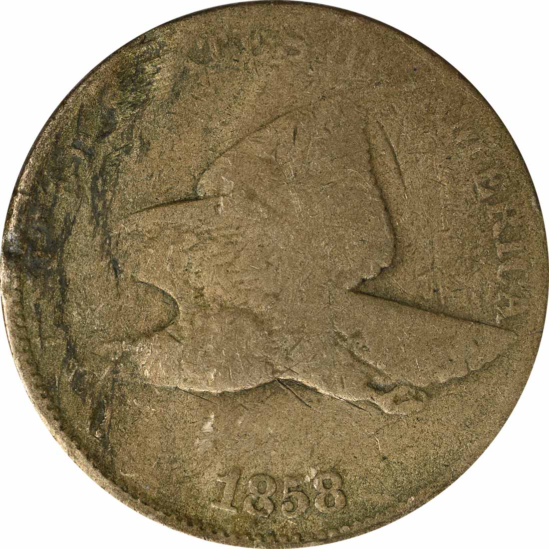 1858 Flying Eagle Cent Large Letters AG Uncertified