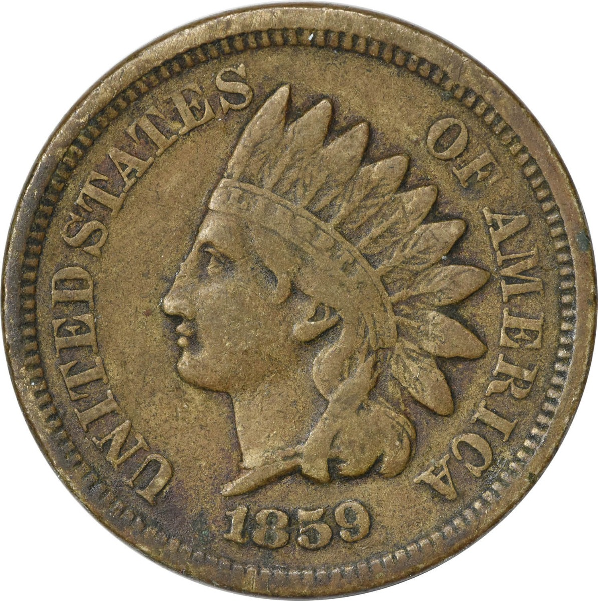 1859 Indian Cent F Uncertified