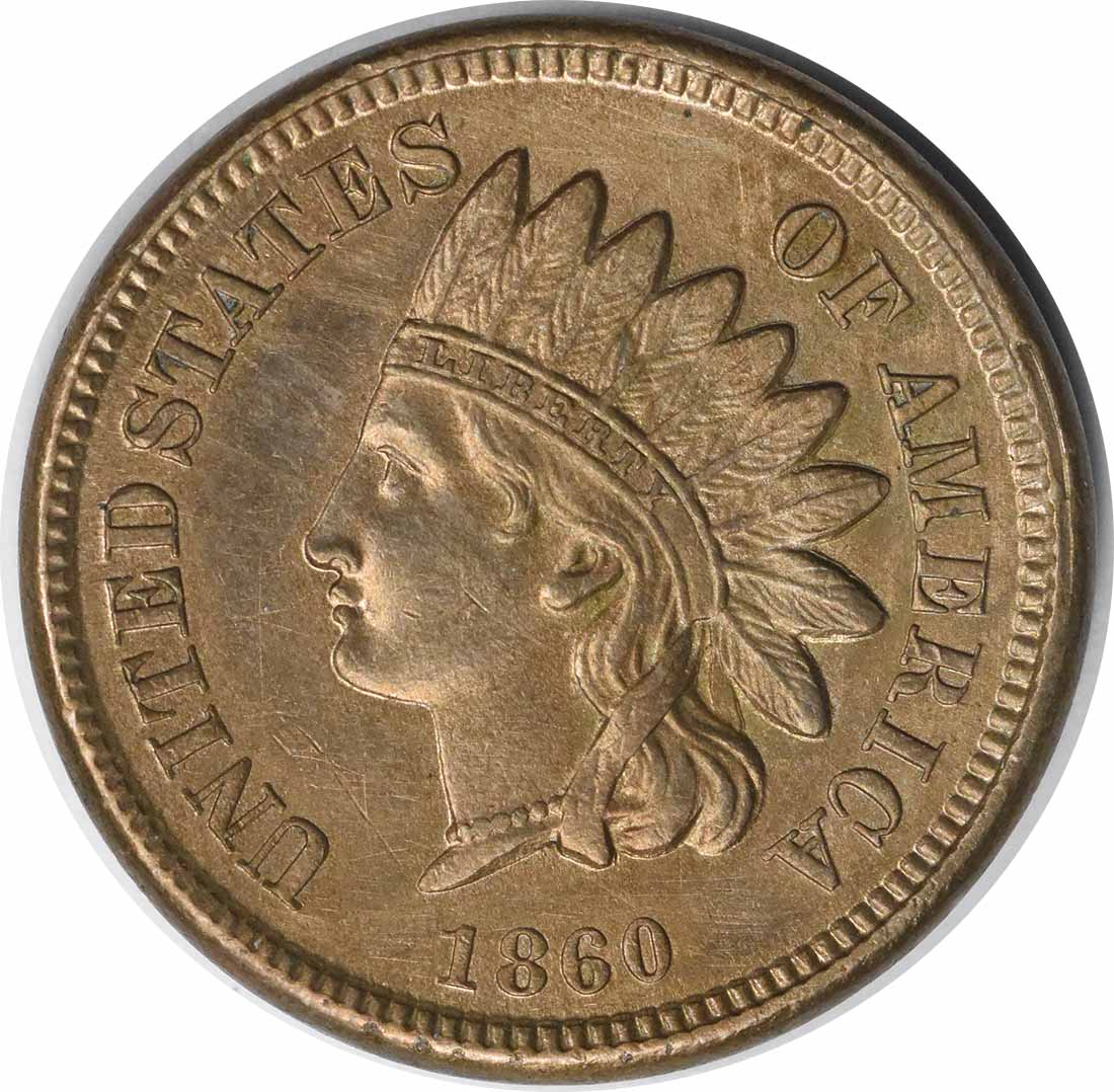 1860 Indian Cent Pointed Bust FS-401 AU Uncertified #116