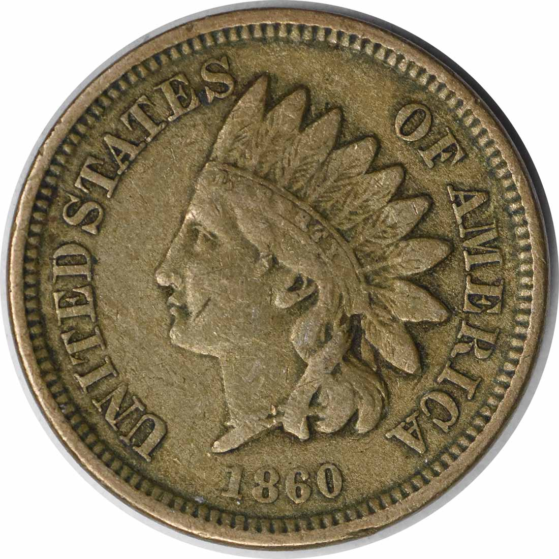 1860 Indian Cent Pointed Bust FS-401 F Uncertified