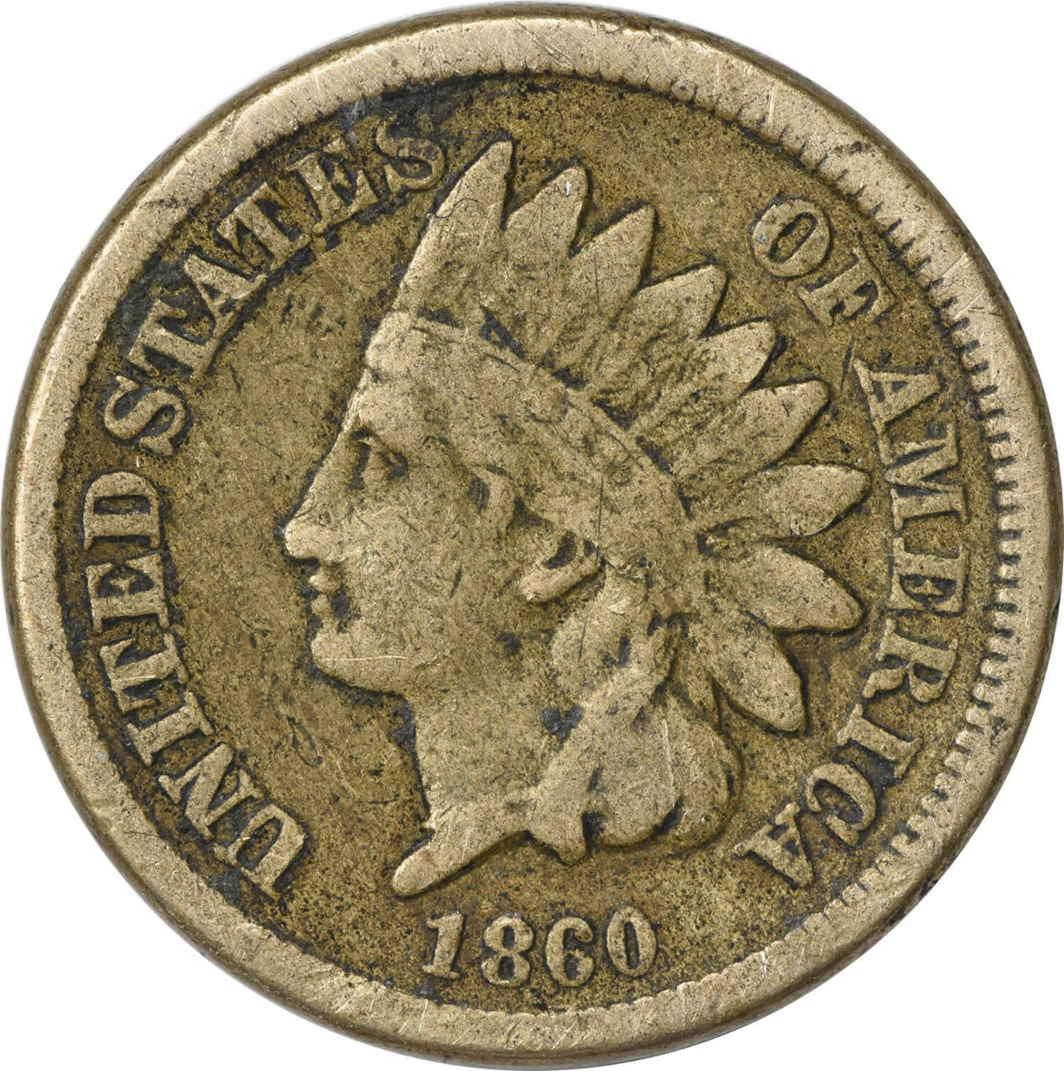 1860 Indian Cent VG Uncertified