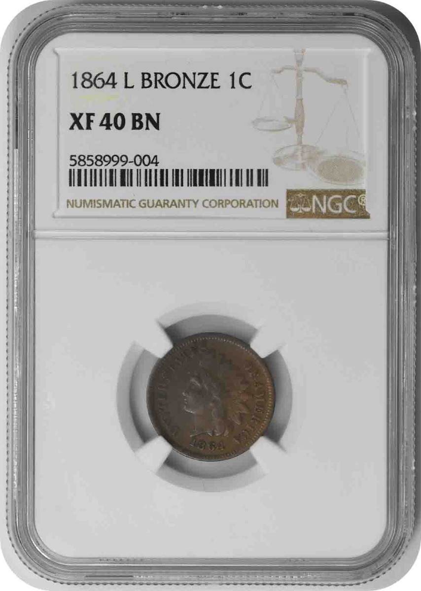 1864 Indian Cent L on Ribbon EF40BN NGC