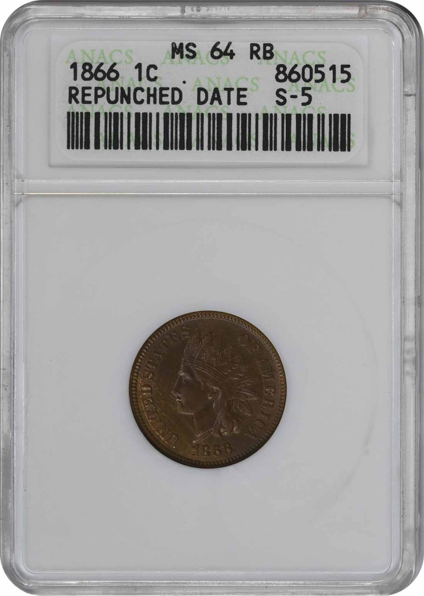 1866 Indian Cent RPD Snow-5  MS64RB ANACS