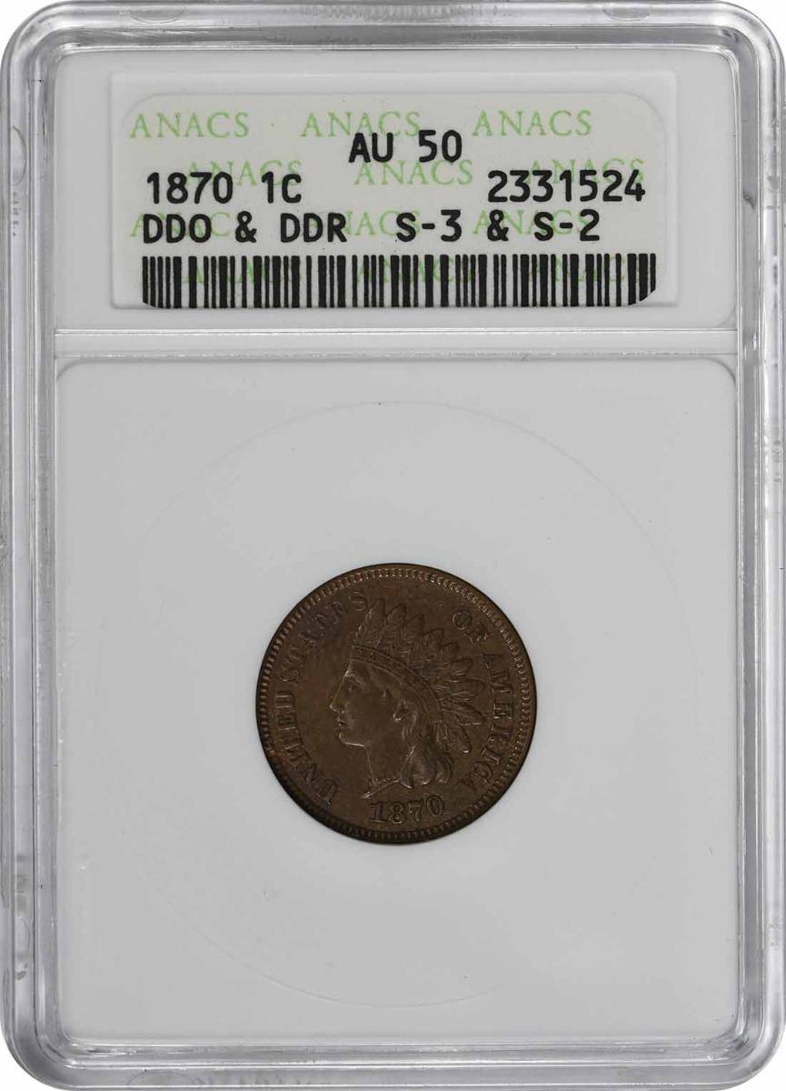 1870 Indian Cent DDO & DDR S-2&3 AU50 ANACS