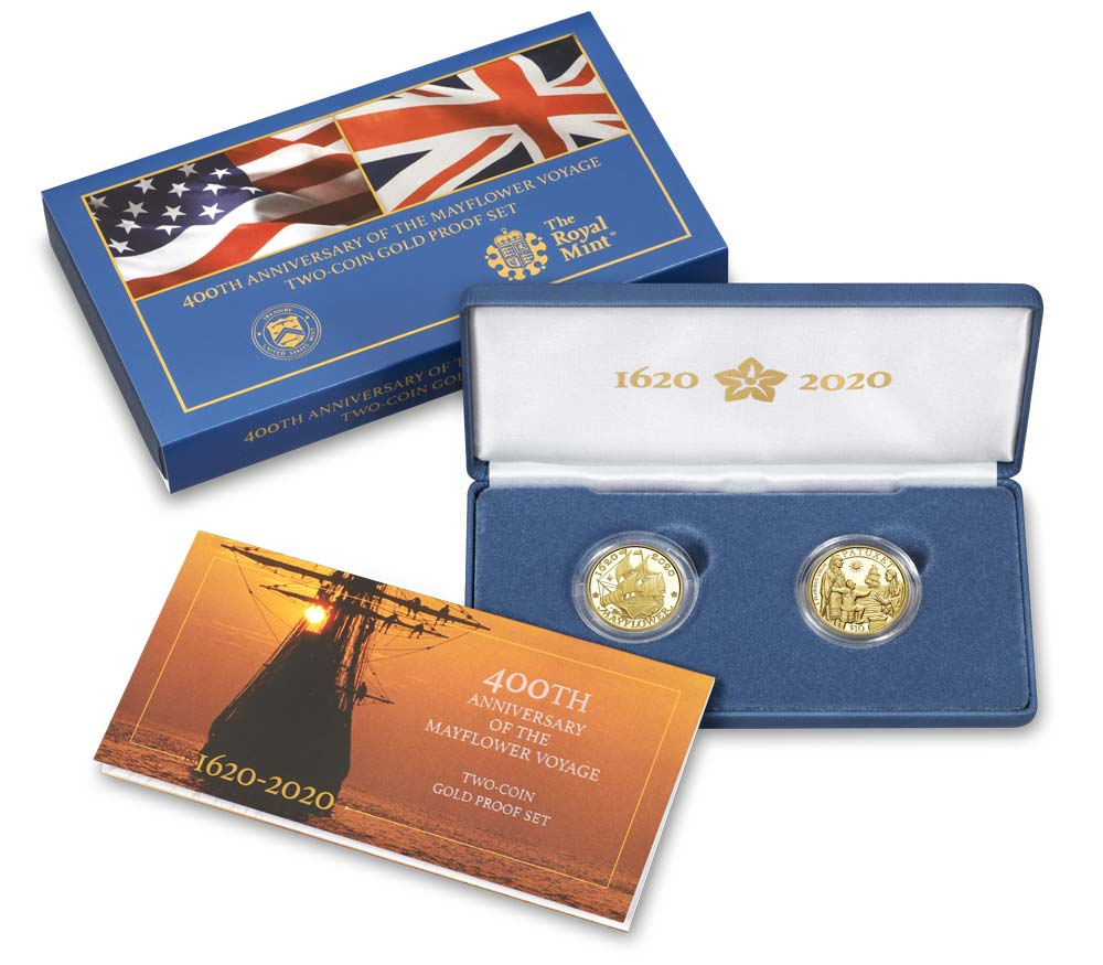 2020 Mayflower 400th Anniversary 2-Coin Gold Proof Set in Original Government Packaging