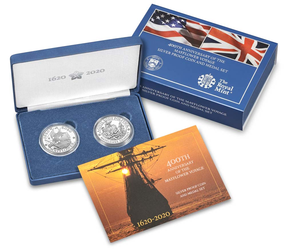 2020 Mayflower 400th Anniversary Silver Proof Coin and Medal Set in Original Government Packaging