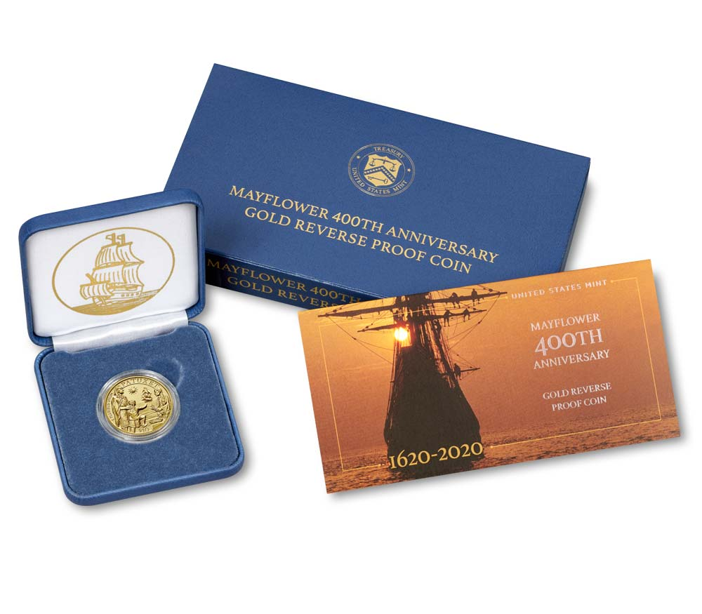 2020-W $10 Gold Mayflower 400th Anniversary Reverse Proof in Original Government Packaging